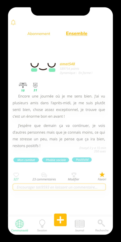 Ecran de la fonctionnalité communauté de l'application Anonyme