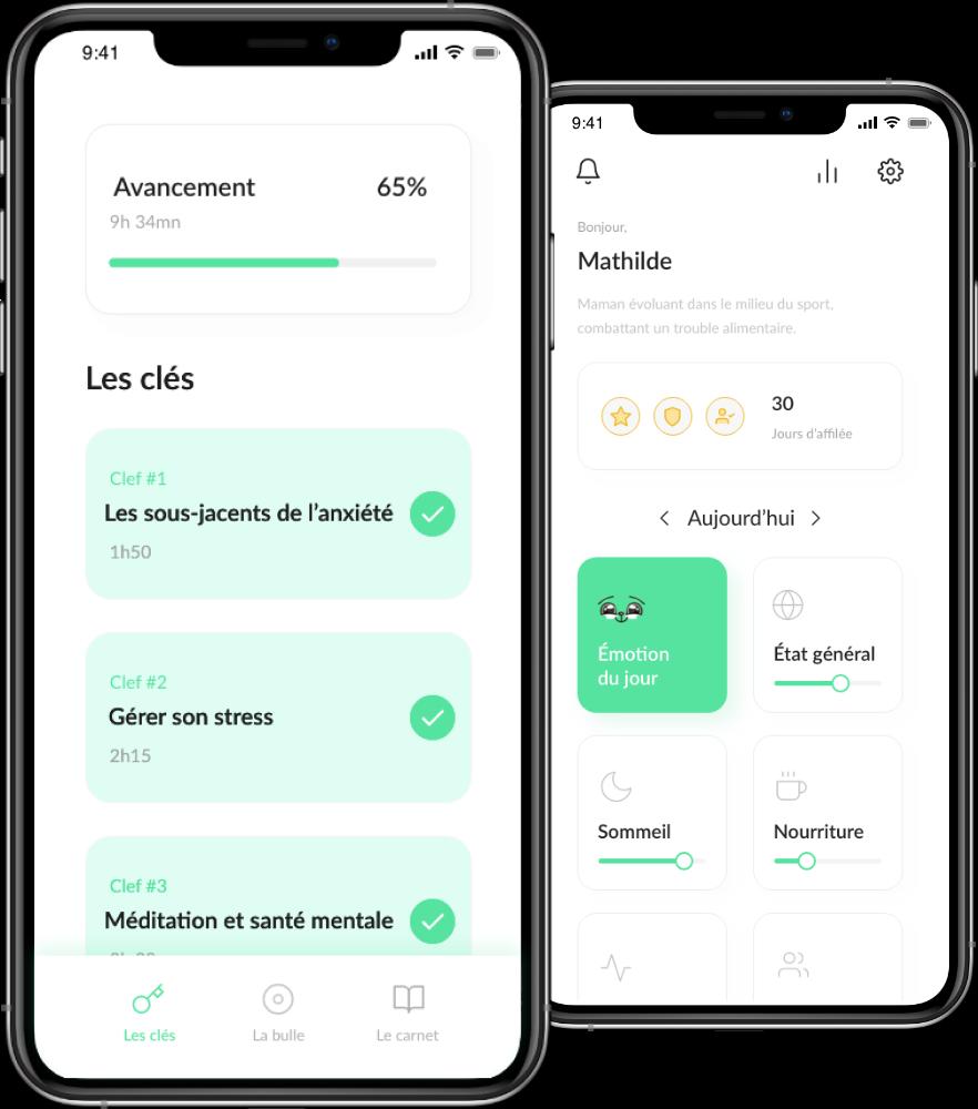 capture d'écran de l'application dans un iphone montrant les conseils, outils et exercices conçus par des professionnels de la santé mentale.