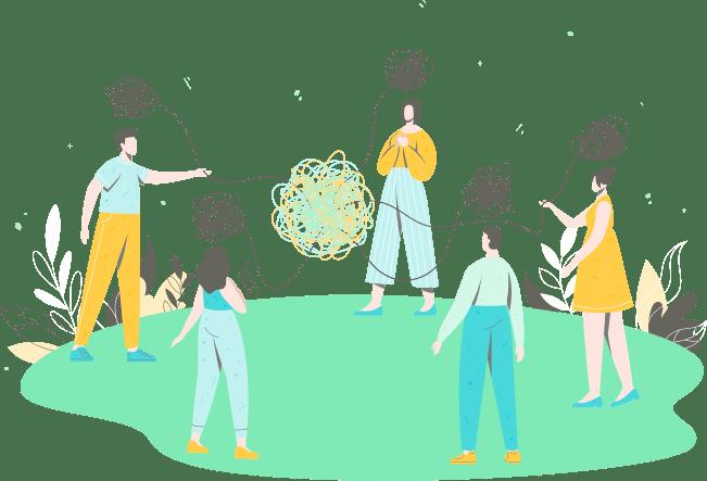 Illustration d'un groupe d'entraide