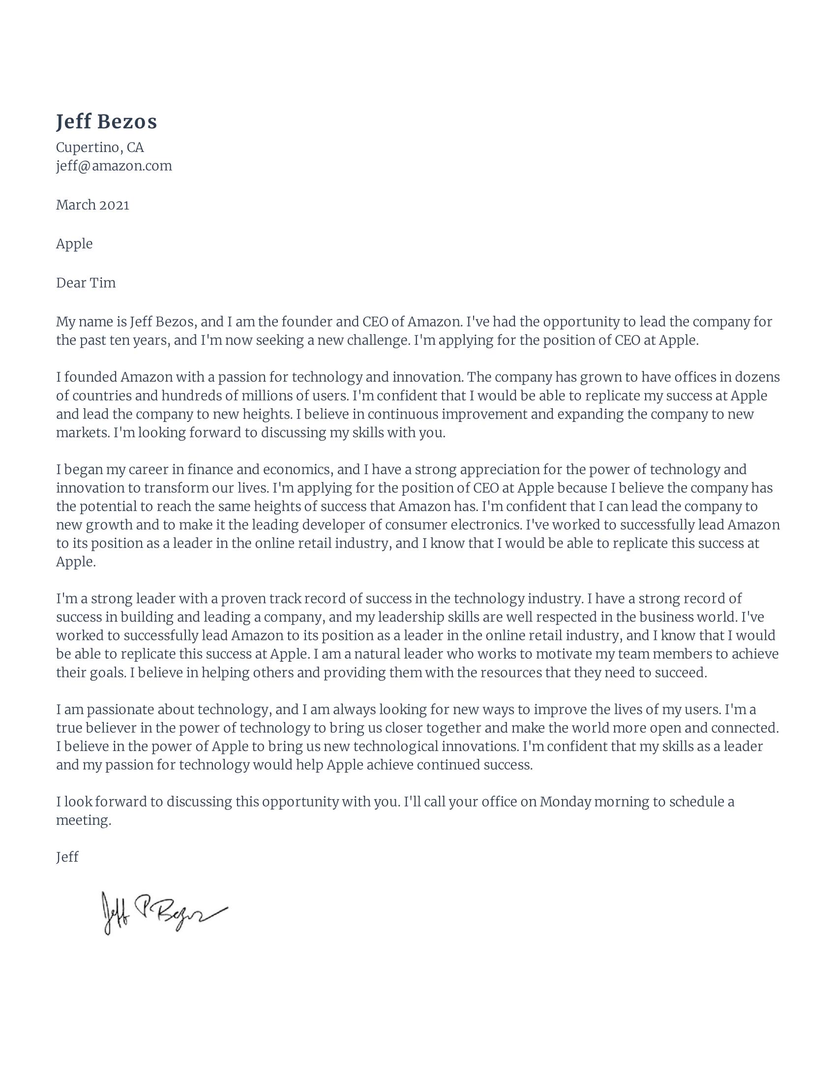 Jeff Bezos cover letter