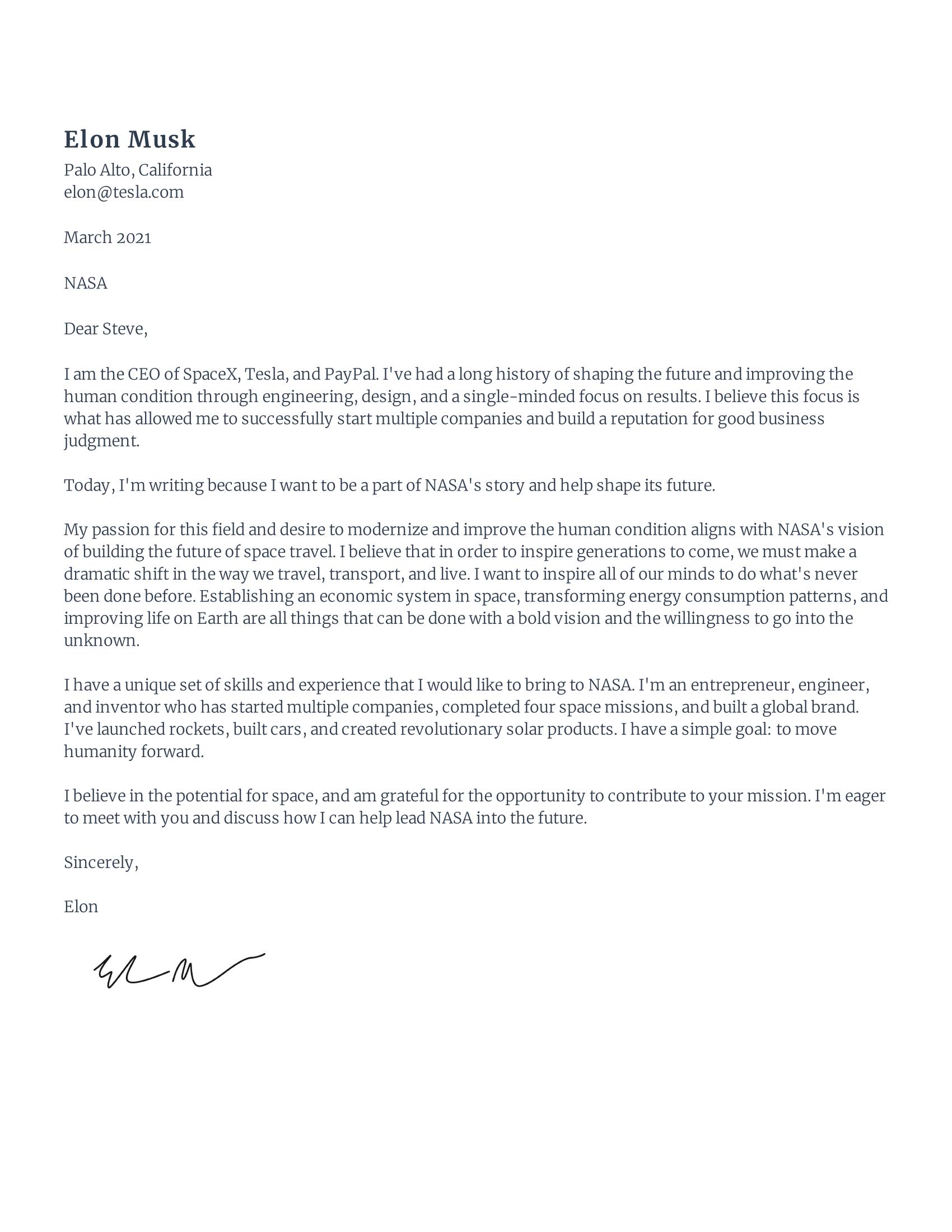 Elon musk cover letter