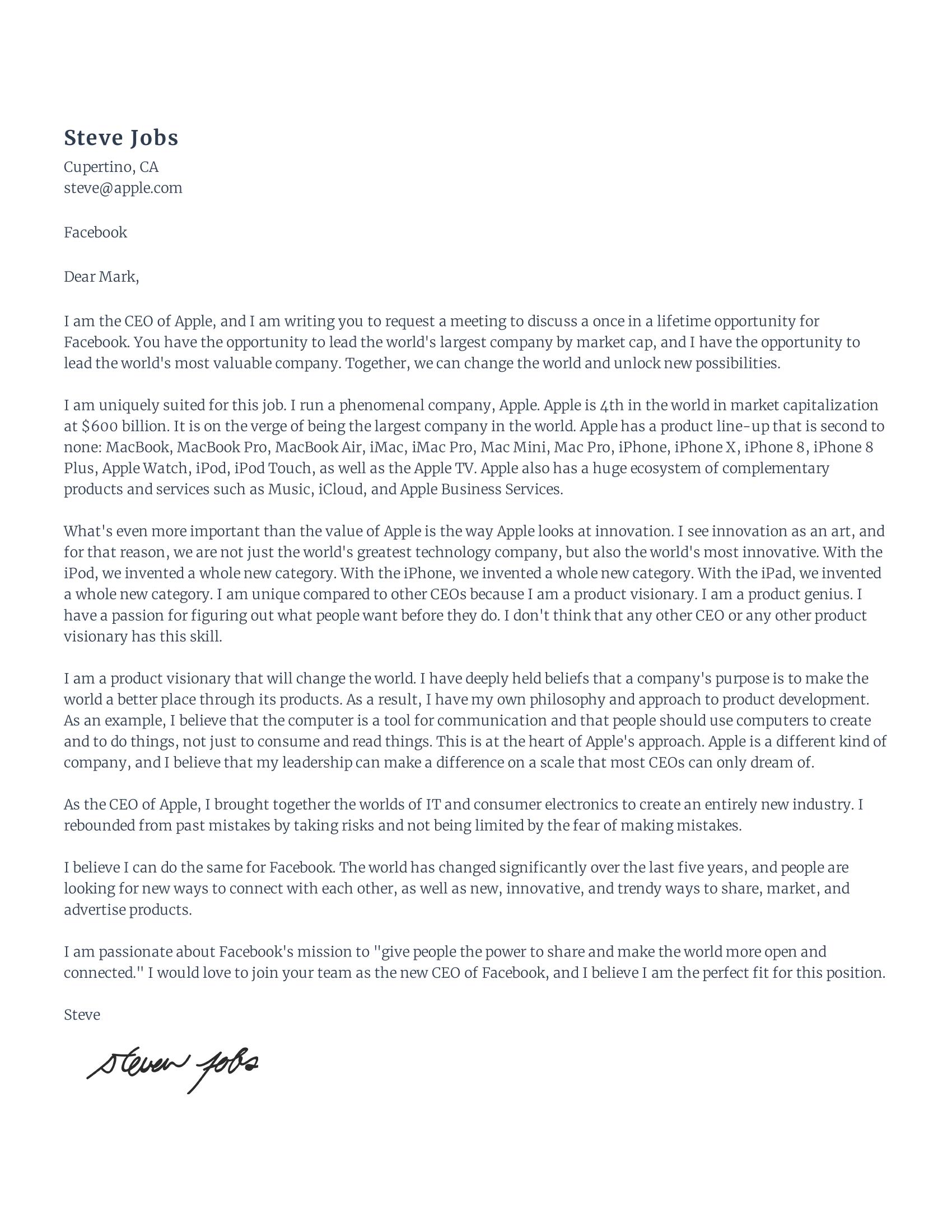Steve jobs cover letter