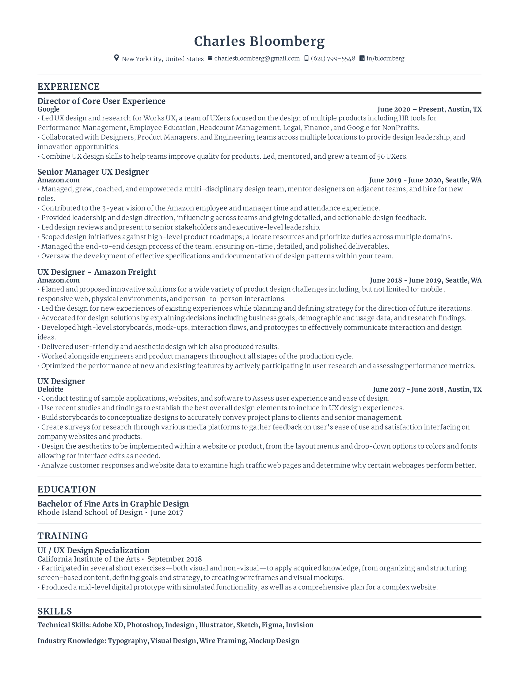 UX Designer Resume Template
