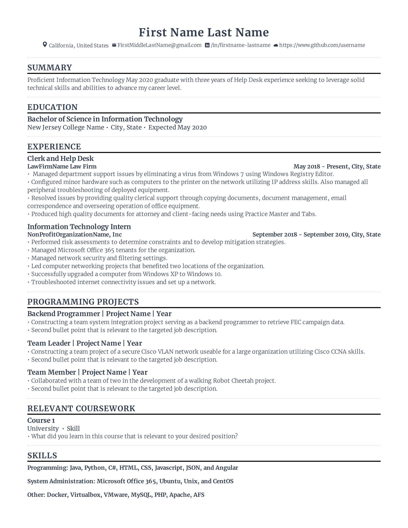 Rezi optimised ATS resume for entry level jobs