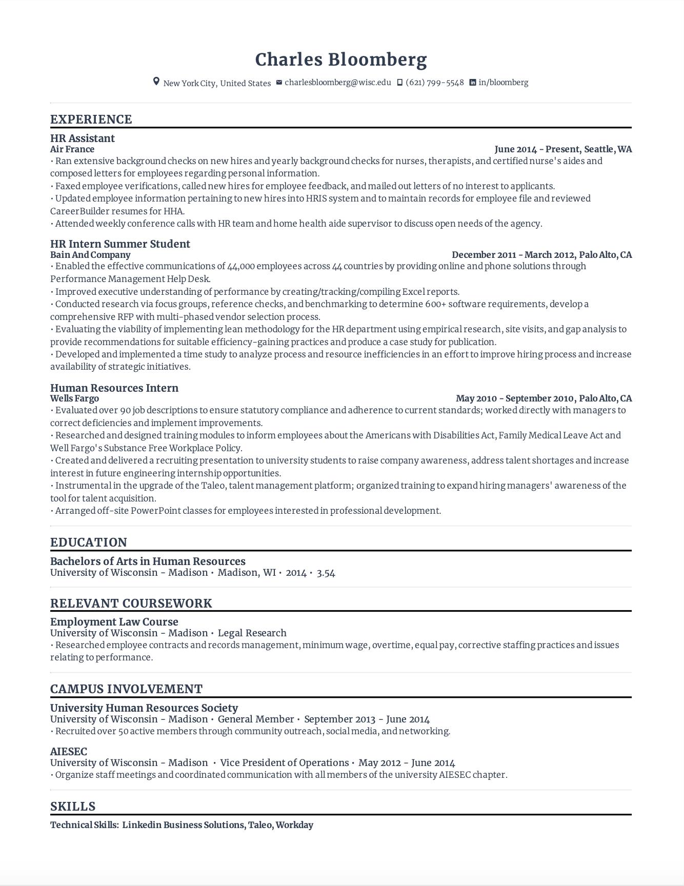 HR Resume Template
