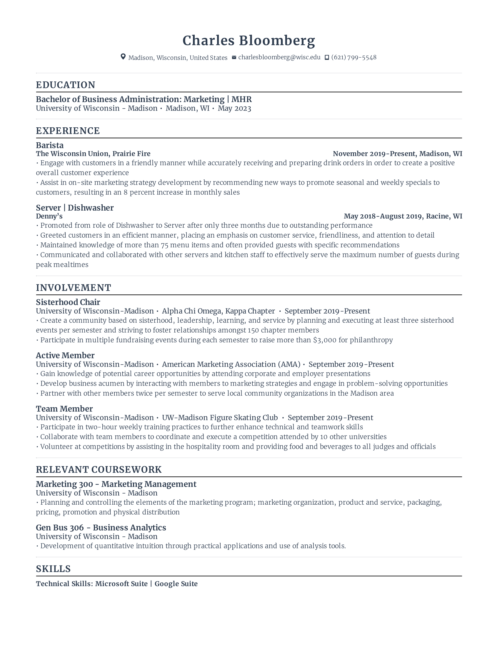 First Year Student Resume Template
