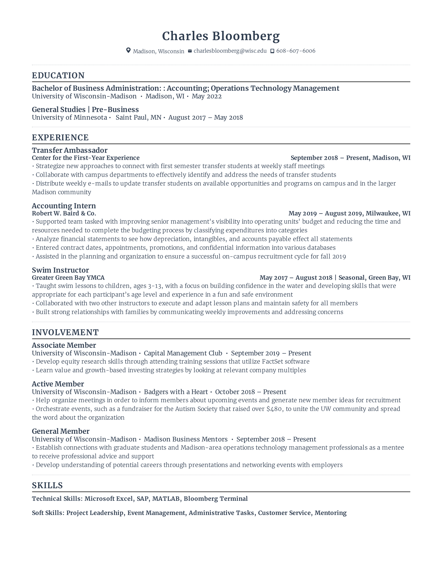 Second Year Student Resume