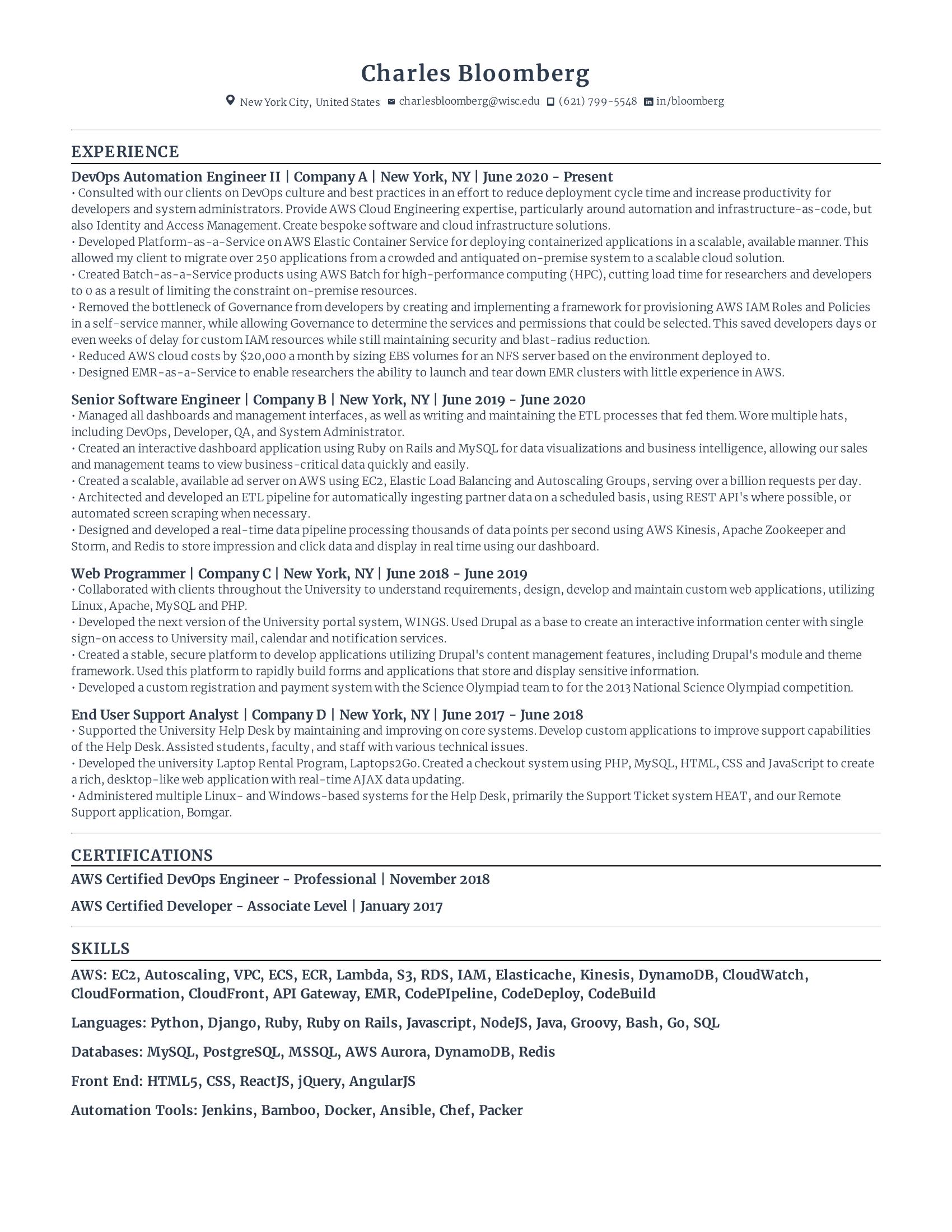 DevOps Engineer Resume