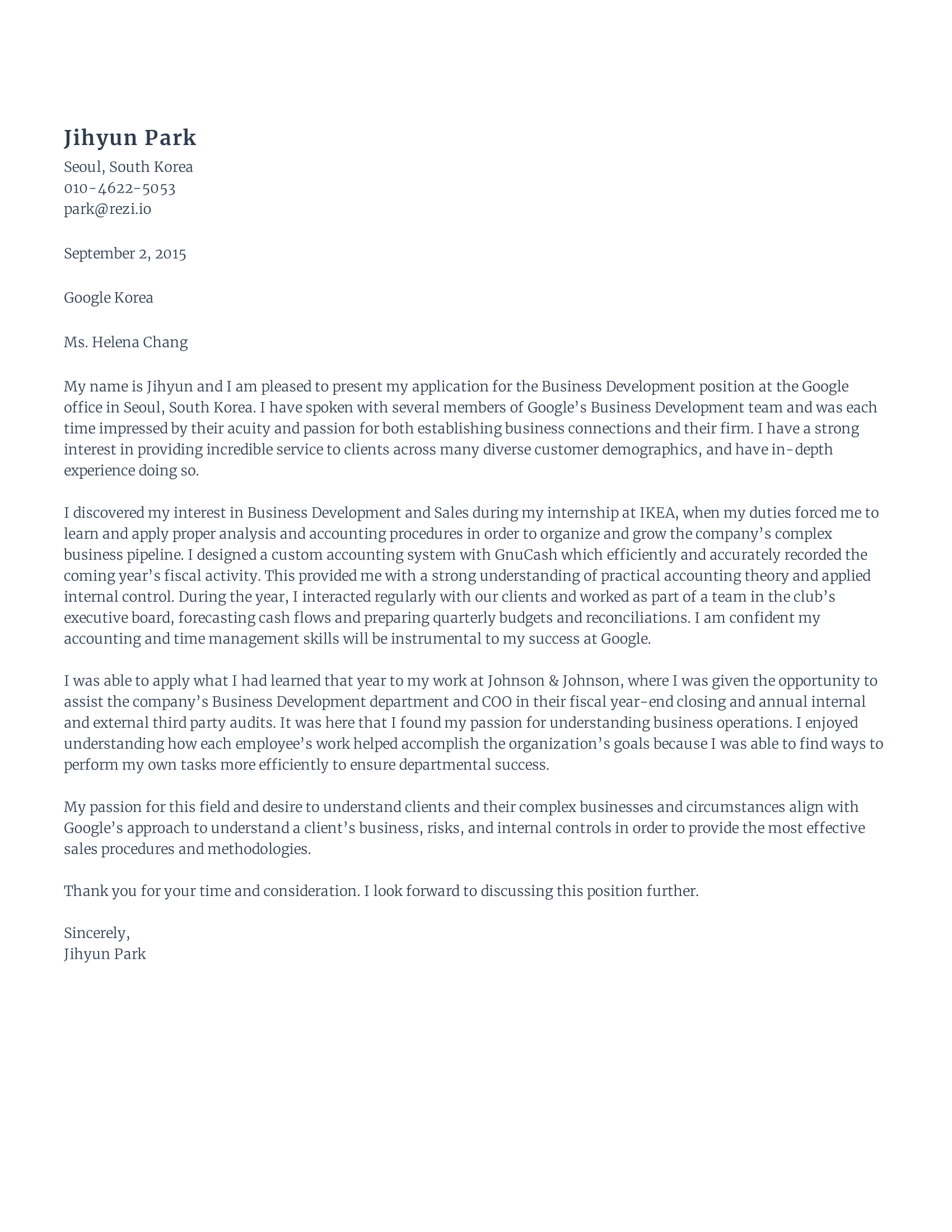 Cover Letter Format Example With Rezi