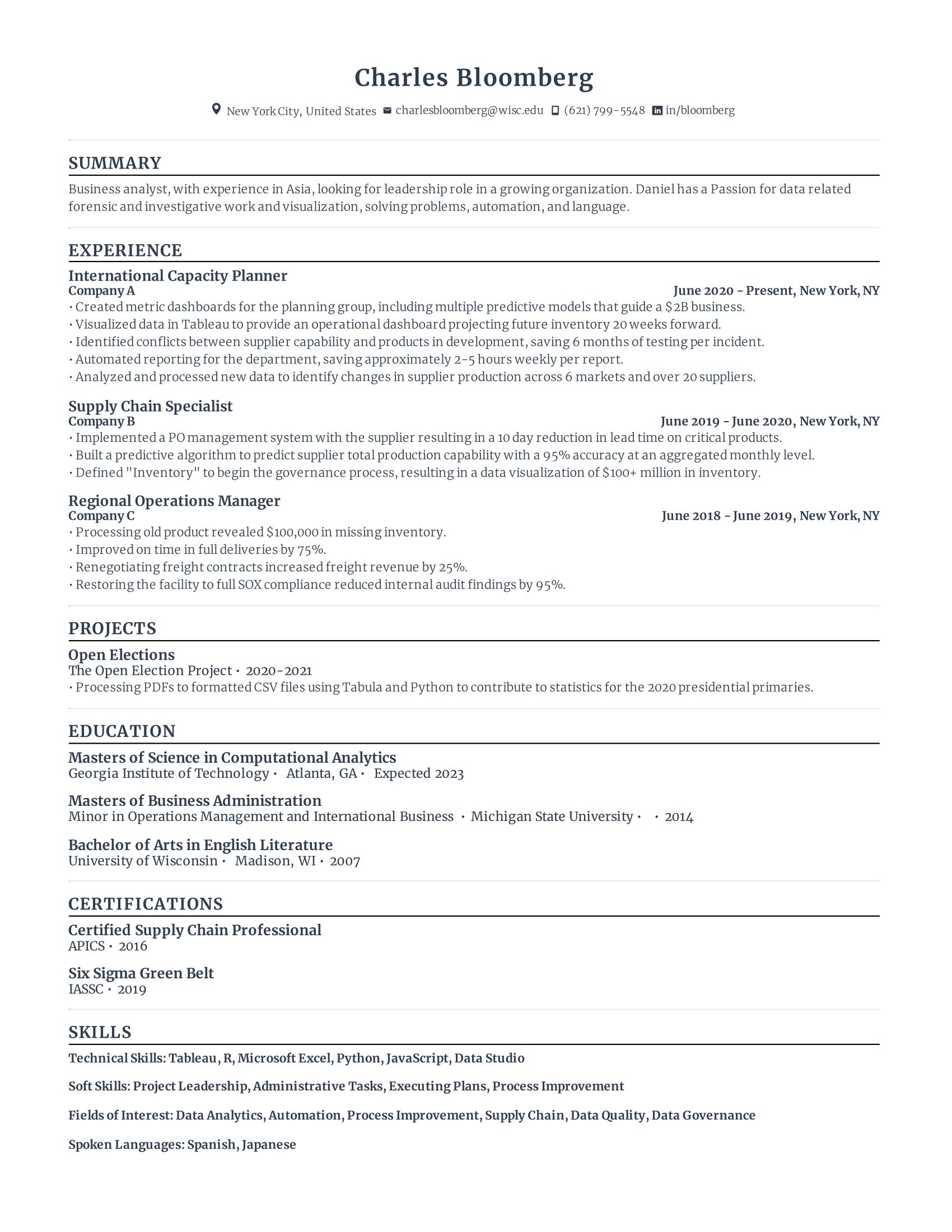 Resume Skills for Database Administrator Example
