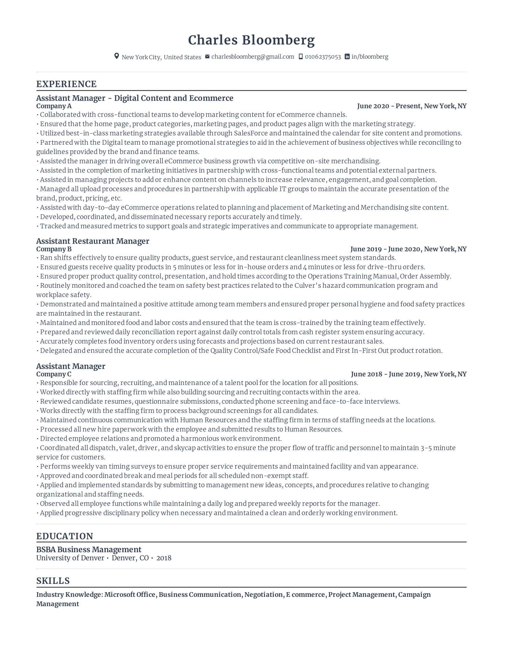 Resume Skills for Management Example