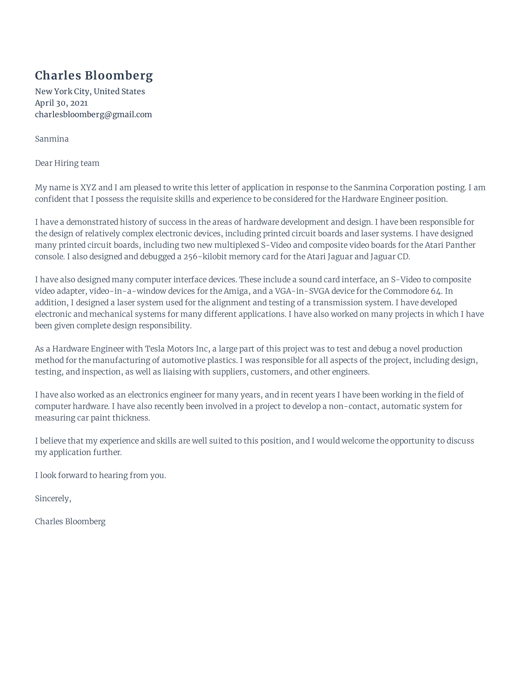 Cover Letter for Hardware engineer