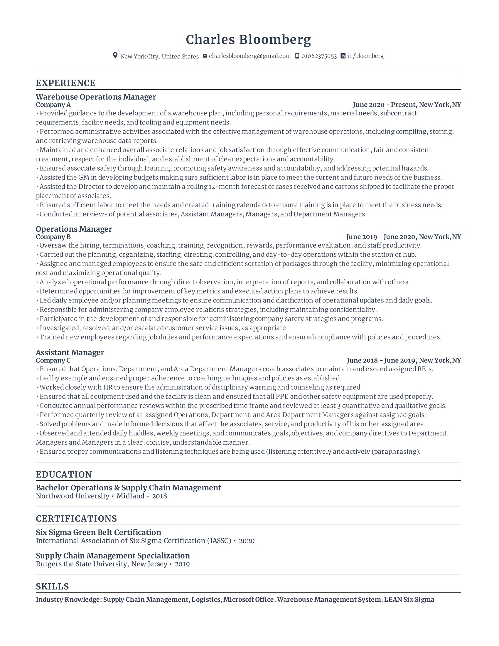 Warehouse operations manager
