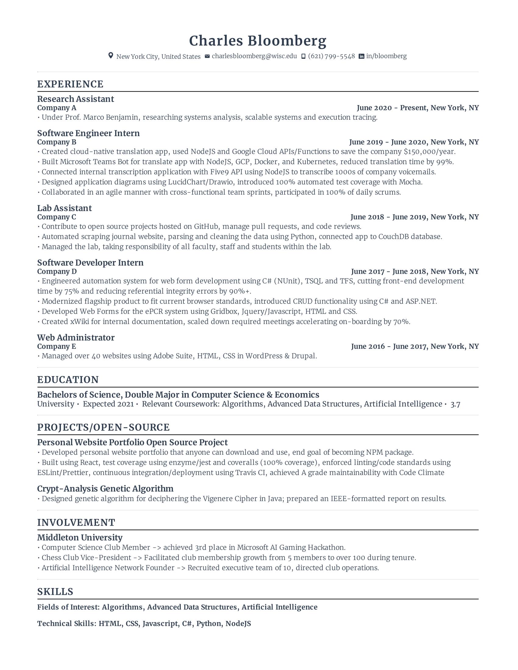 software engineer intern