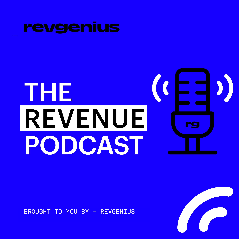 "RevGenius ""The Revenue Podcast"" cover photo."