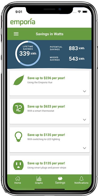 Emporia App Savings Page