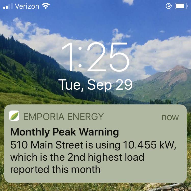 Emporia App Monthly Peak Notification