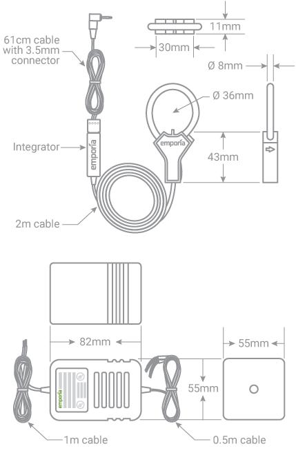 Emporia Flexible Current Sensor Dimensions