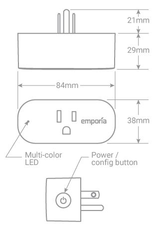 Emporia Smart Plug Dimensions