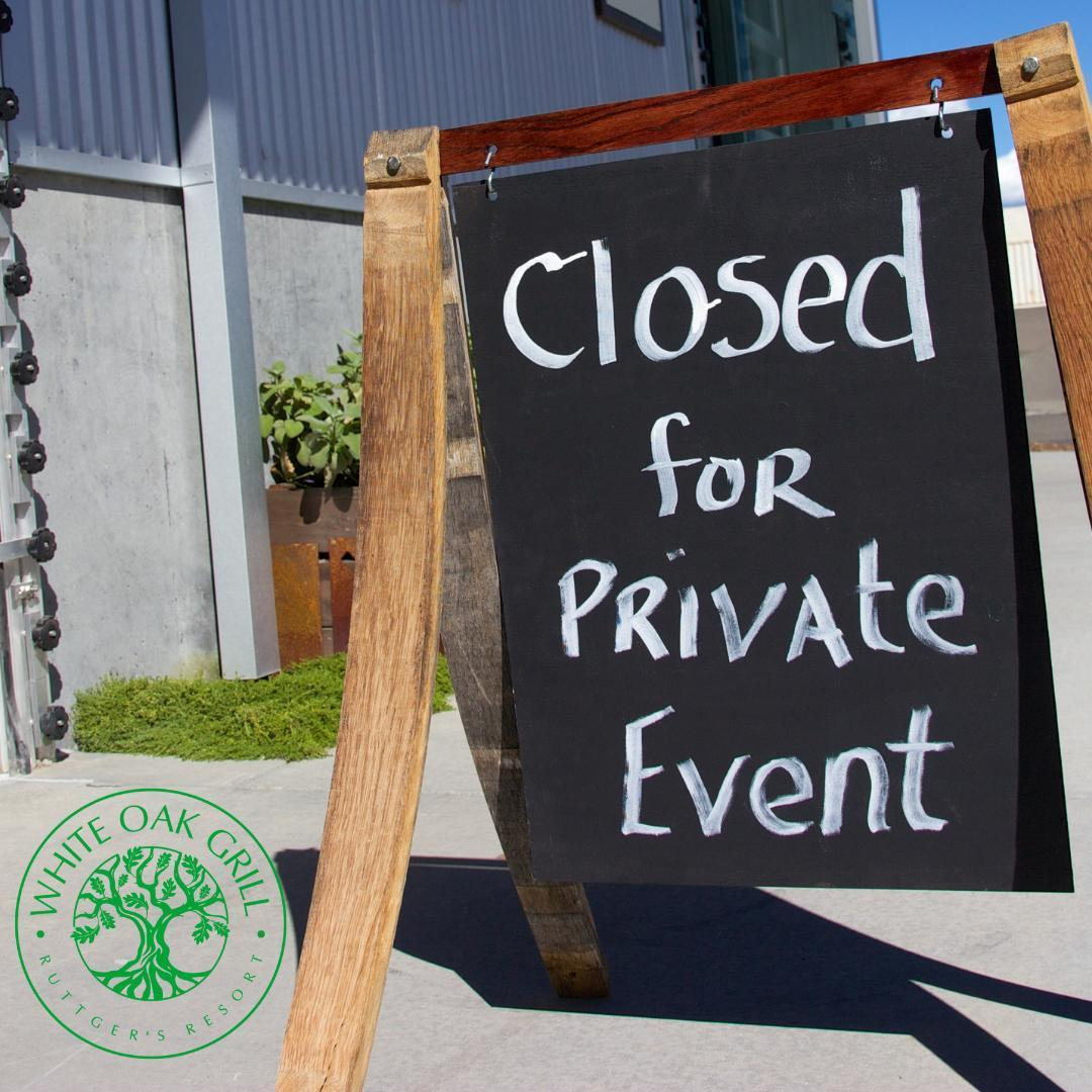 The White Oak Grill will be closing FRIDAY at 3pm for a private event.   We apologize for the inconvenience and welcome you to stop into Ruby's Dining Room or the Bear Pine Bar for dinner on Friday, July 30th.