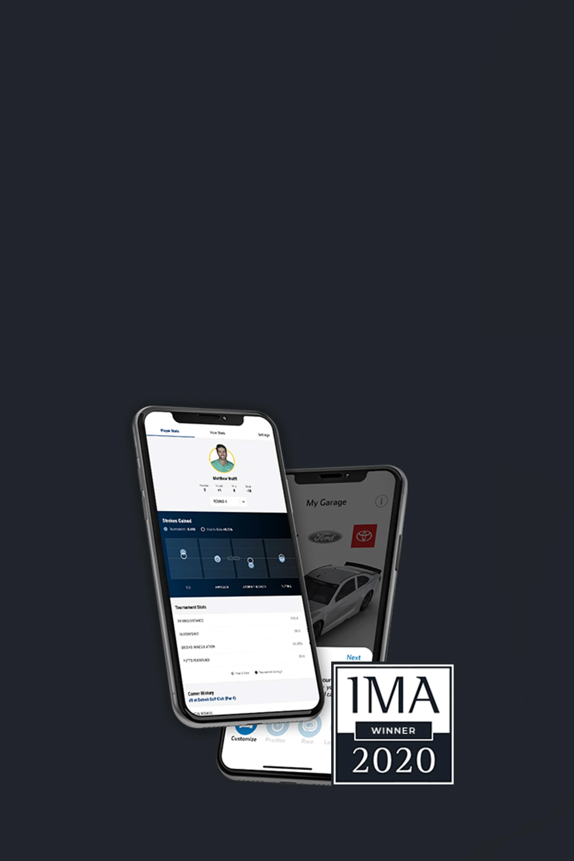 Smartphone with PGA TOUR website screenshot of the player with stats and NASCAR app screenshot of AR Racing. IMA Award logo