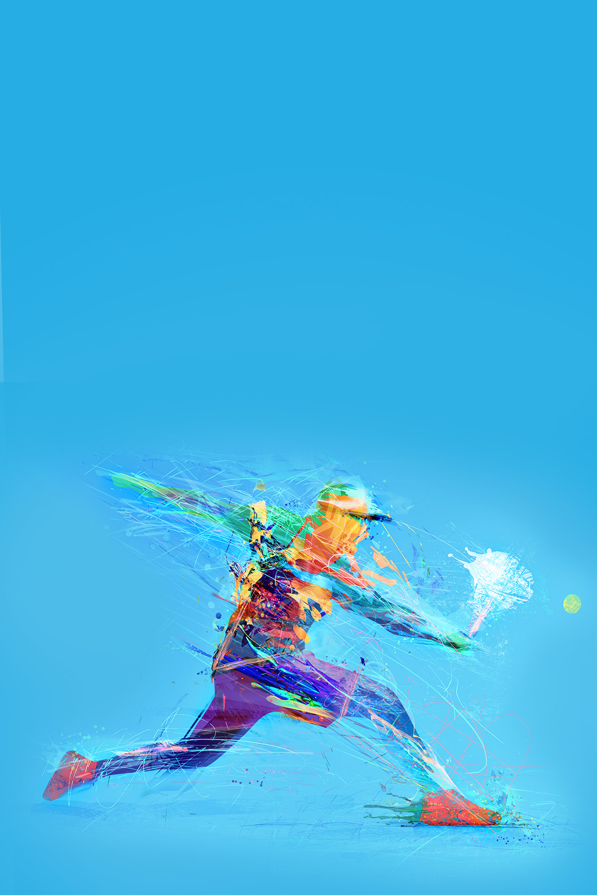 Abstract drawing of the man playing tennis