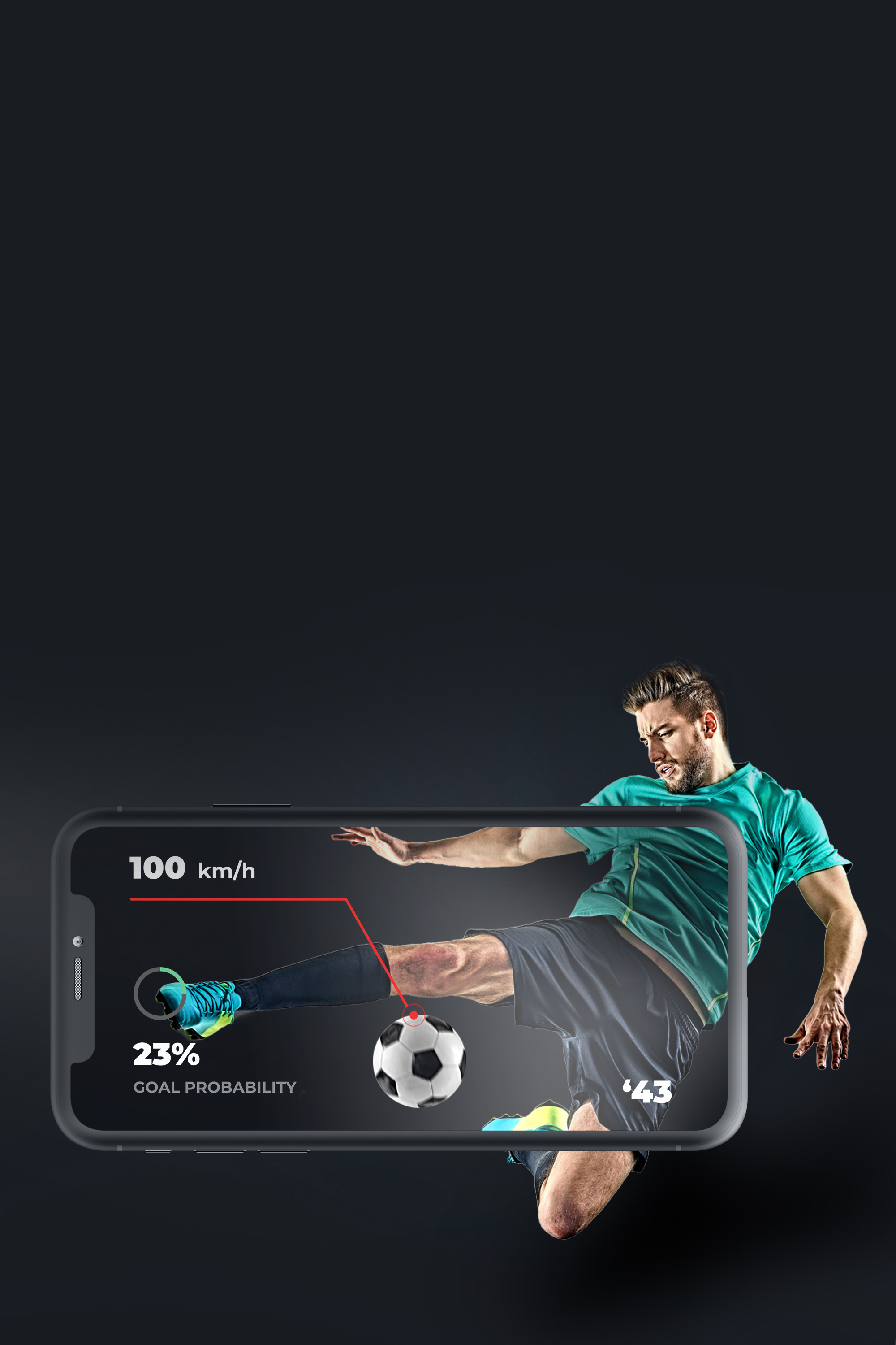 Soccer player is hitting the ball within the frame of the phone. Example of virtual reality,