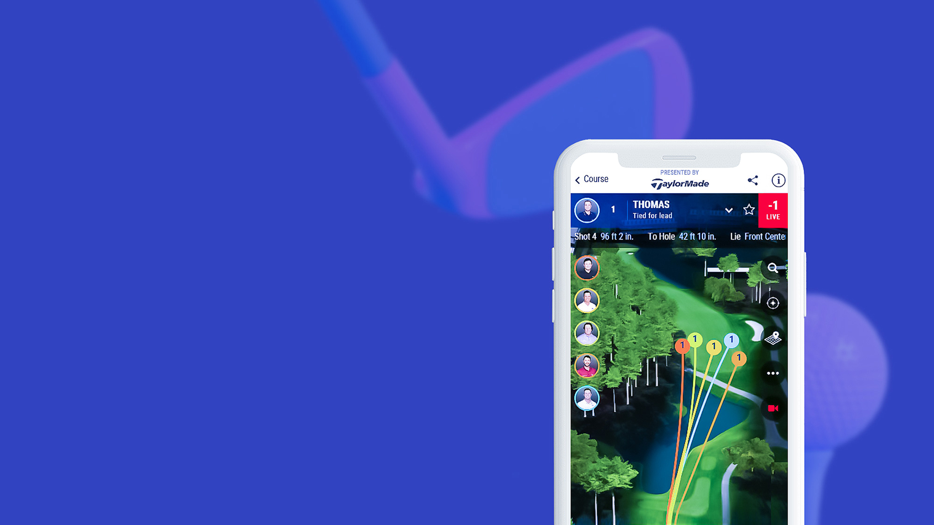 Phone with PGA TOUR course with golfer strokes AR projection