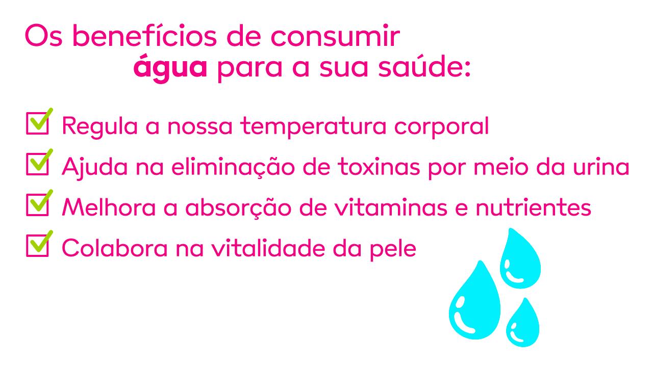 imagem ilustrando os benefícios de consumir água