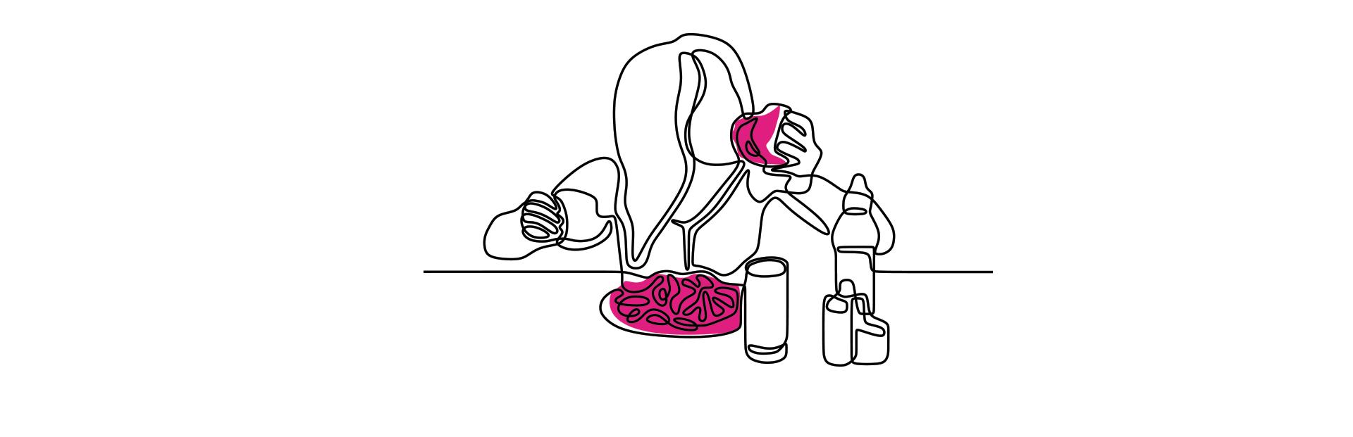 mulher com fome e comendo durante uma refeição