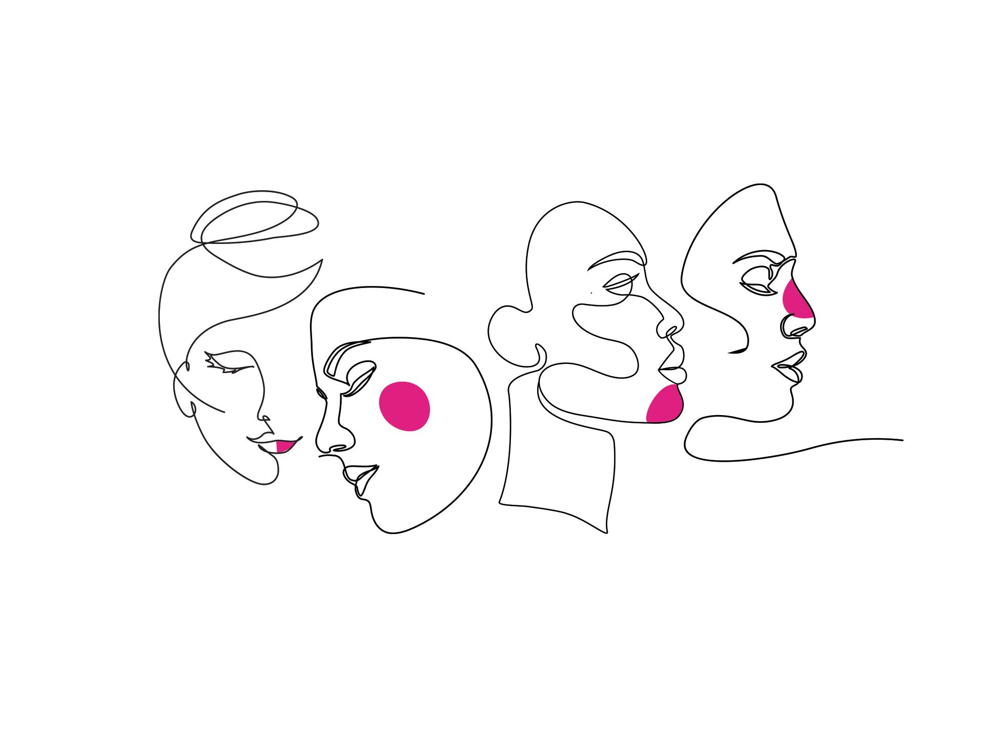 mulheres com tinta rosa no corpo