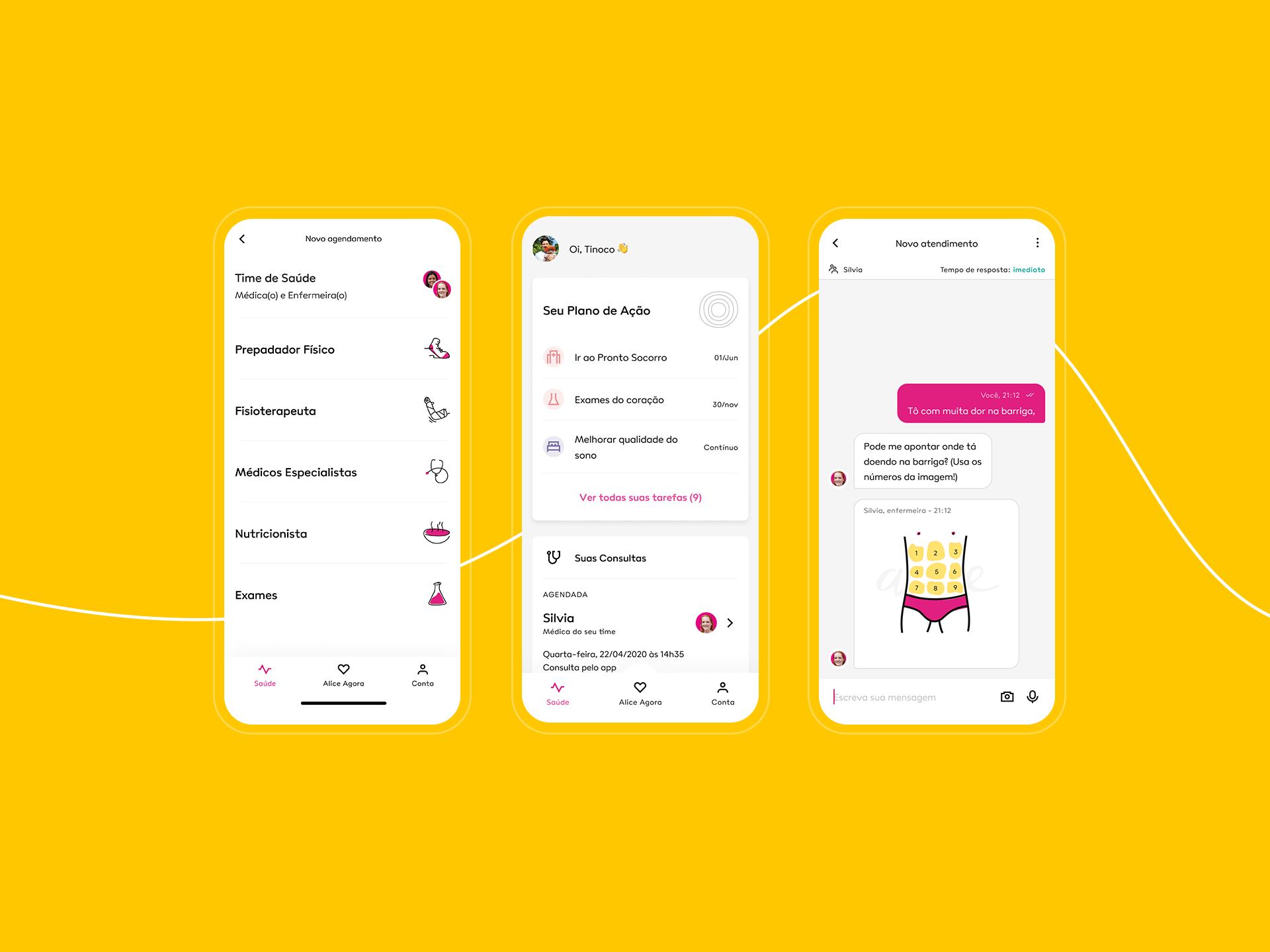 telas de celular com o aplicativo alice aberto