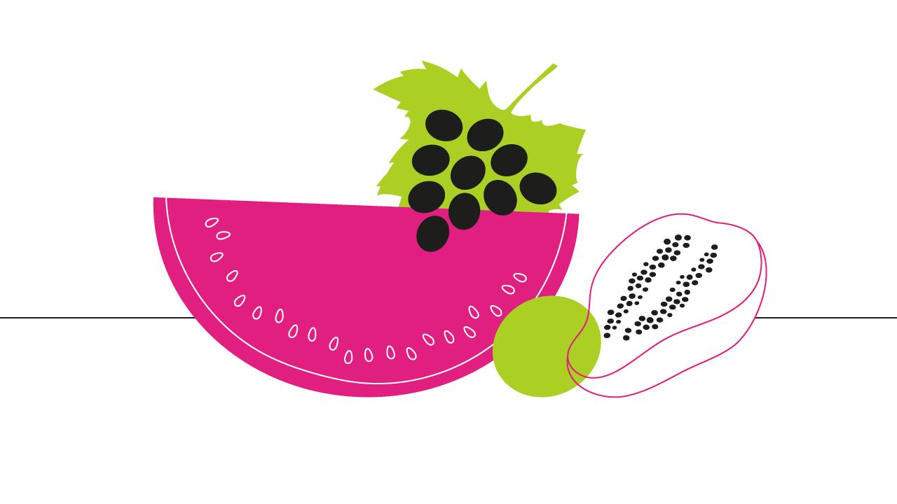 desenho com diversas frutas em cima da mesa