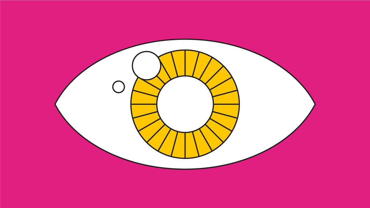 ilustração de um olho com a íris amarela