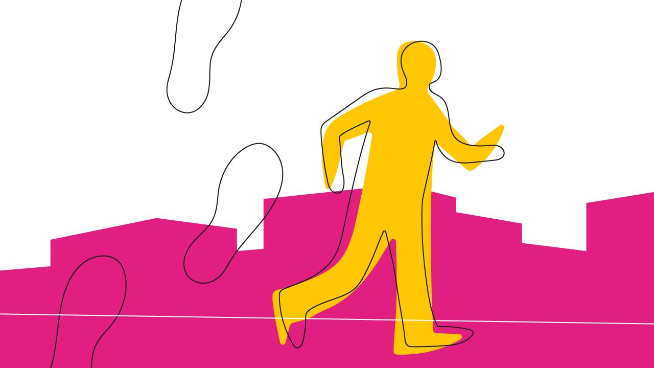 ilustração de pessoa correndo e deixando pegadas