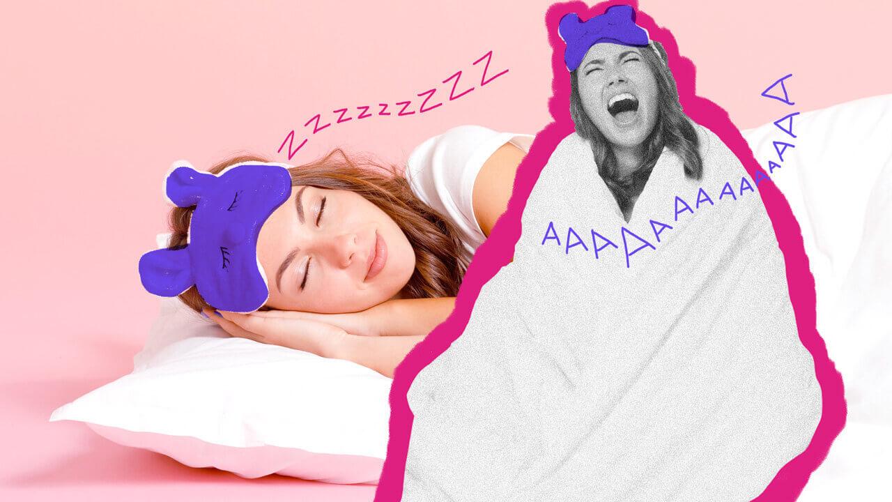 mulher dormindo com a cabeça no travesseiro e tapa olhos