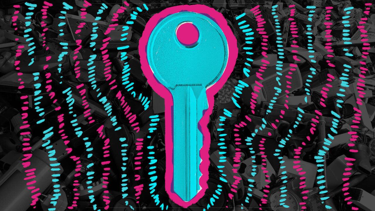 ilustração de uma chave azul e rosa