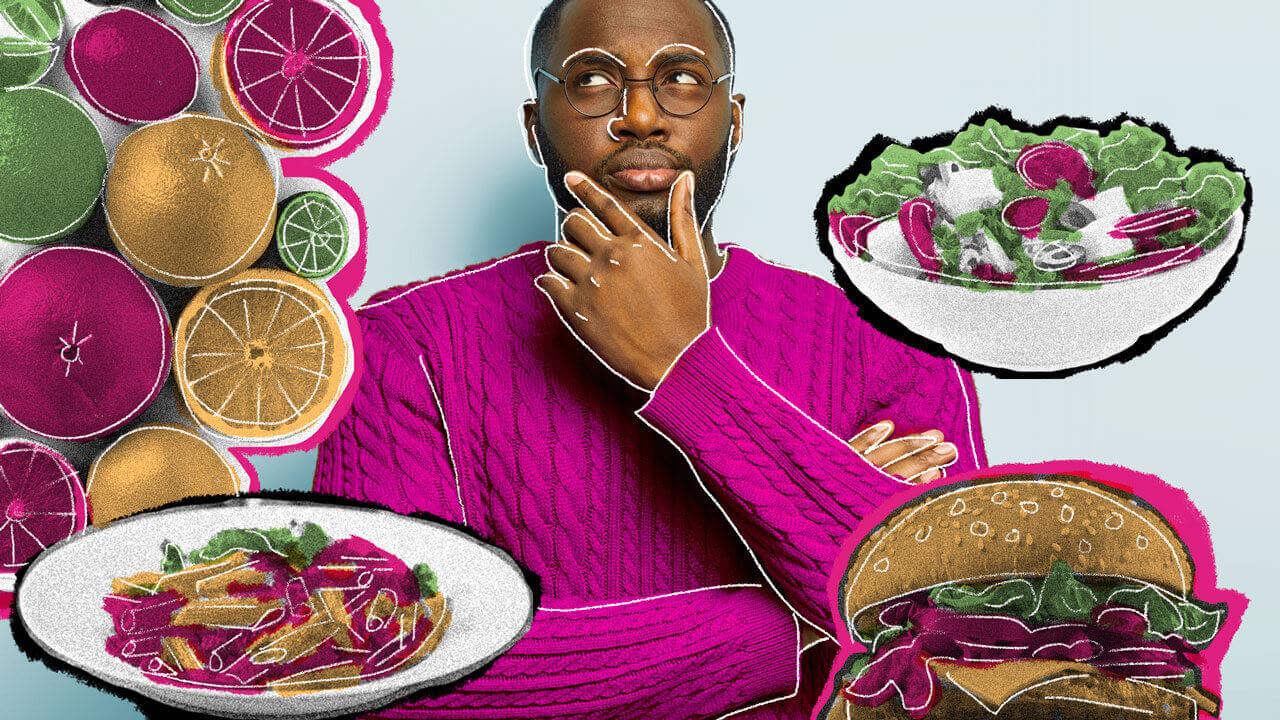 homem pensando em volta de pratos de comida