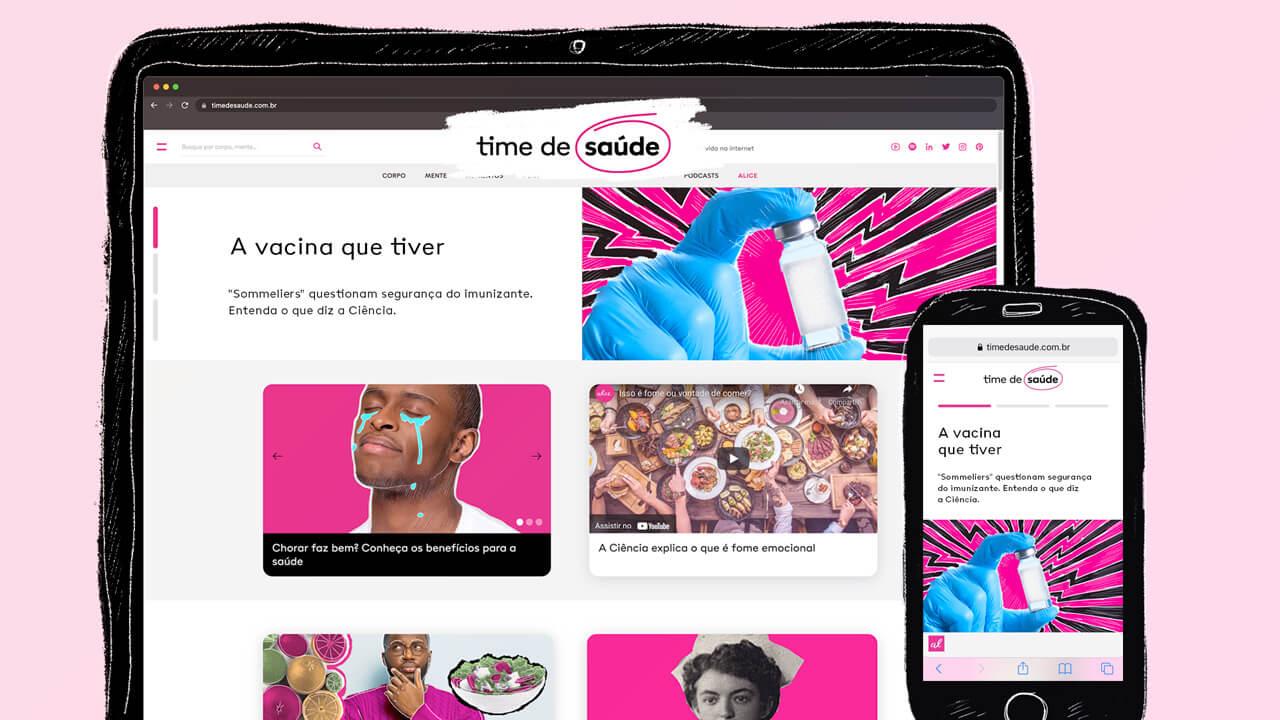 tela principal do portal time de saúde no celular e tablet
