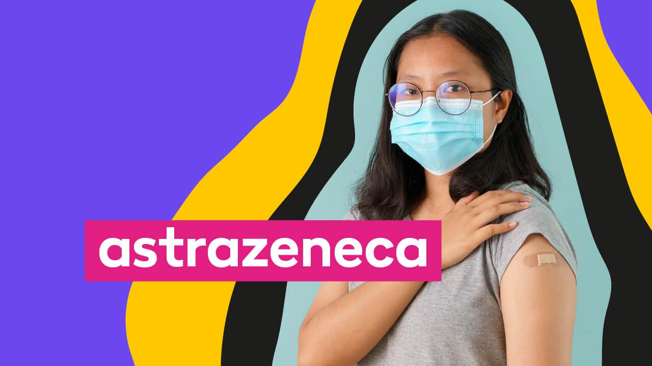 mulher de máscara tomando vacina da Astrazeneca