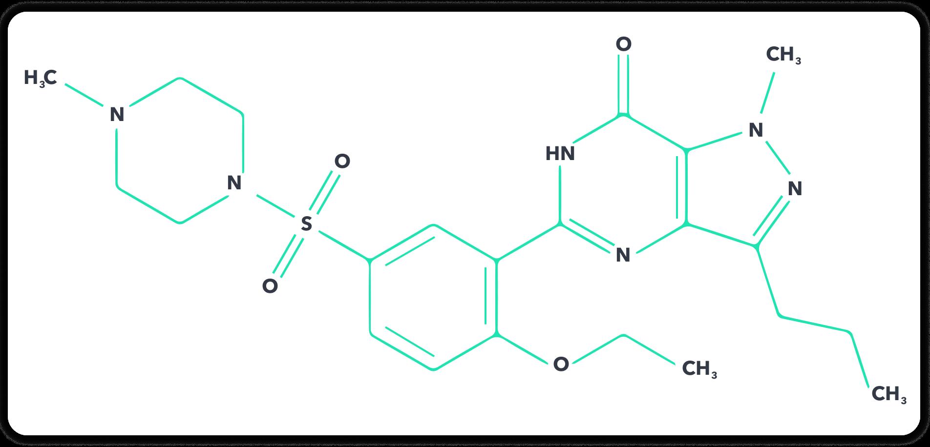 Der chemische Aufbau von Sildenafil | Quelle: gelbe-liste.de