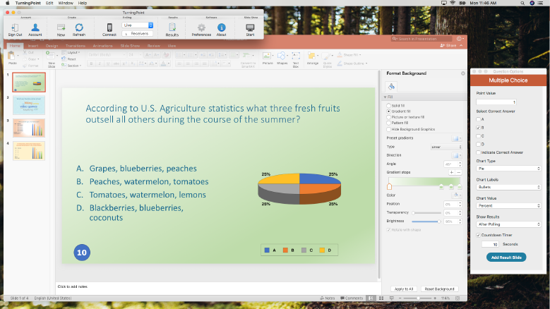 TurningPoint for PowerPoint on a Mac laptop showing pie graph results