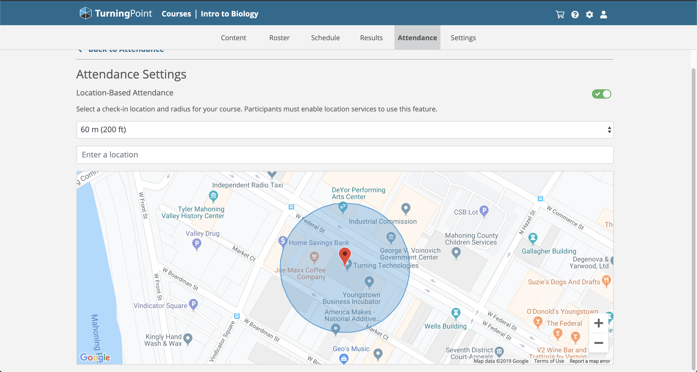 GPS location-based attendance on TurningPoint web