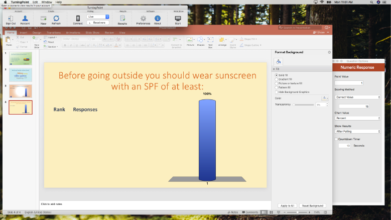 TurningPoint for PowerPoint on a Mac laptop