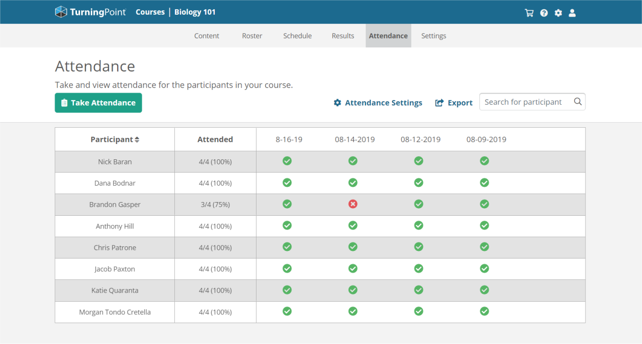 Attendance grid shows students present or absent on TurningPoint web