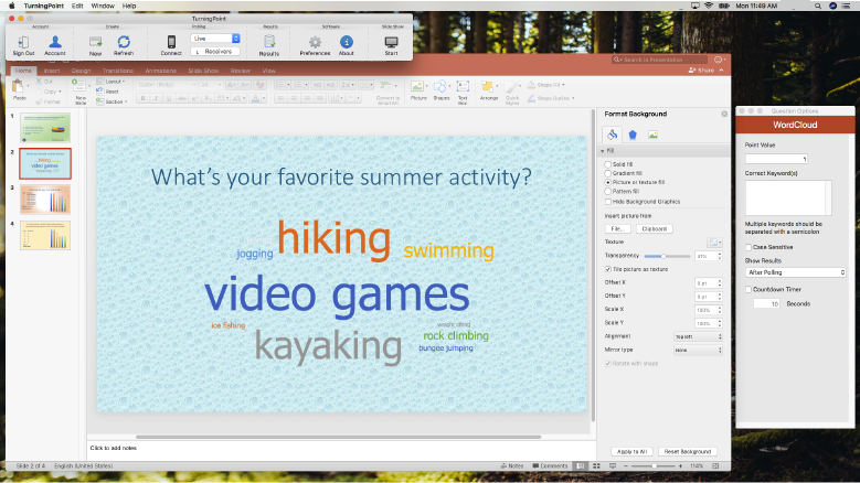 TurningPoint for PowerPoint on a Mac laptop using wordcloud