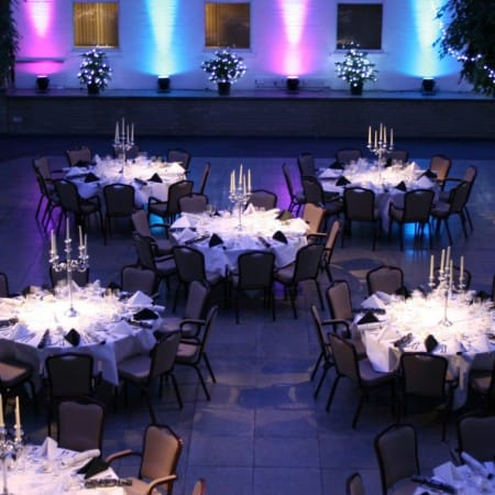 A room at Wherstead Park decorated for a large dinner party