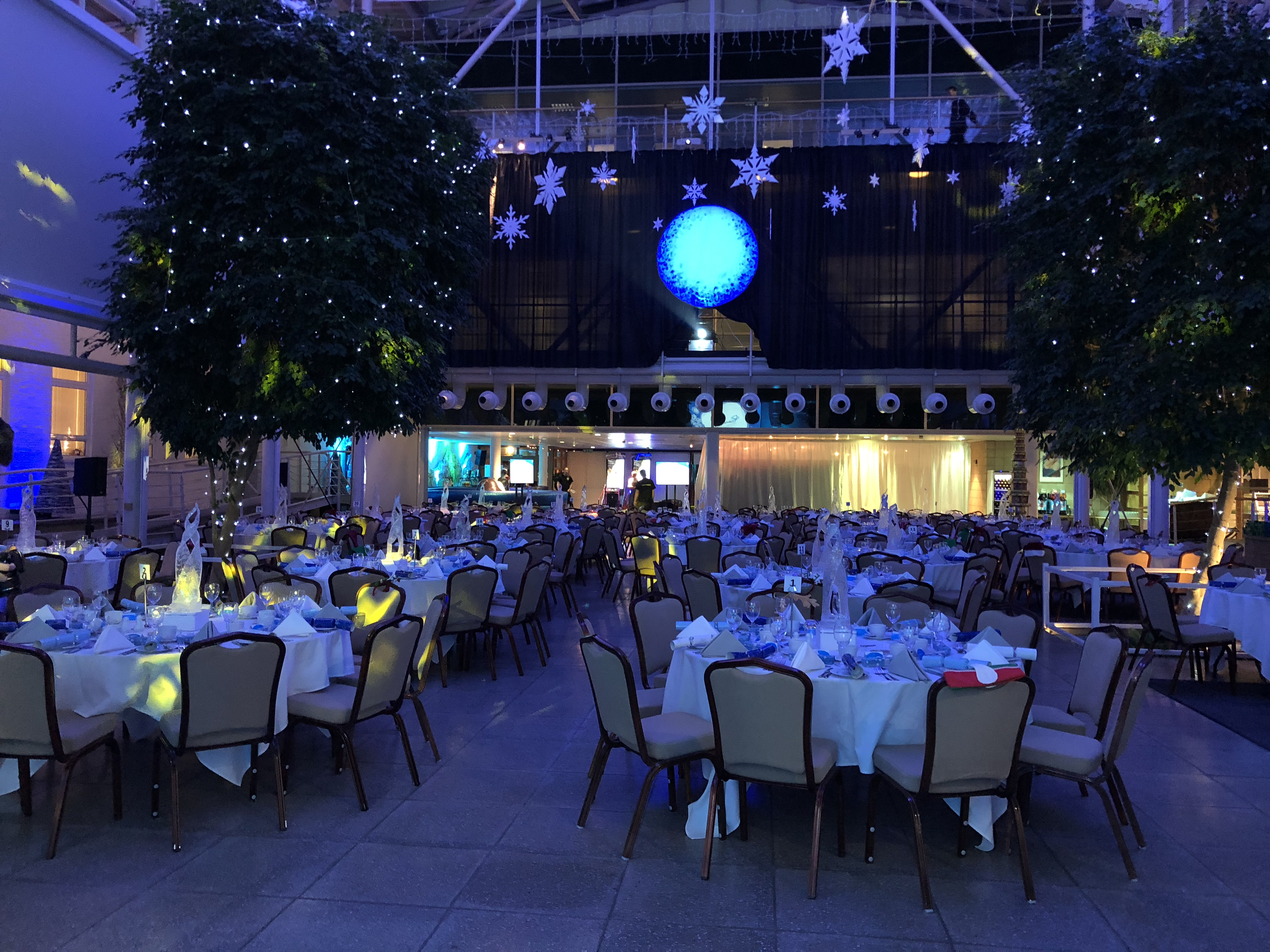 Event with tables in the Atrium