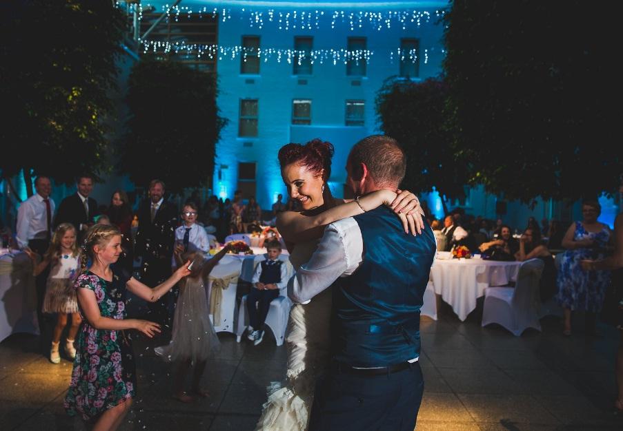 The bride and groom in atrium