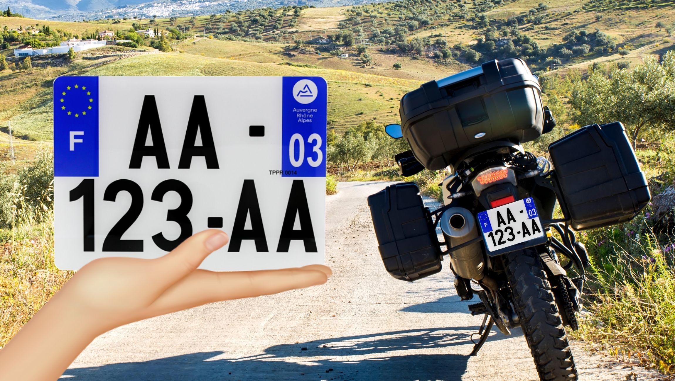 Plaque d'immatriculation pour moto